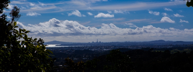 A view of the Auckland Metro Area, with a view of the Harbour with Rangitoto behind.