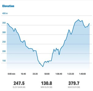 A Graph that shows the change in elevation during the walk. Total elevation gain of 247.5 Meters